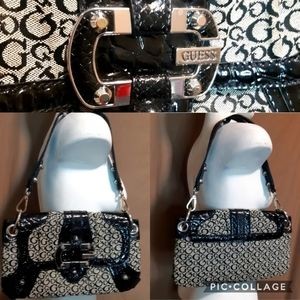 Guess | G logo patent leather and fabric handbag